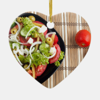 Aerial view of one portion of vegetable salad ceramic heart ornament