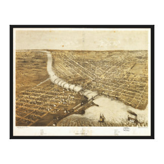 Aerial View of Oshkosh, Wisconsin (1867) Canvas Print