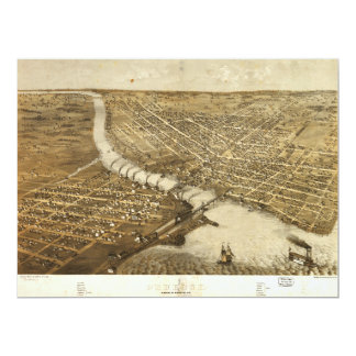 Aerial View of Oshkosh, Wisconsin (1867) Card