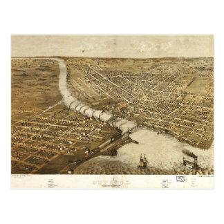 Aerial View of Oshkosh, Wisconsin (1867) Postcard