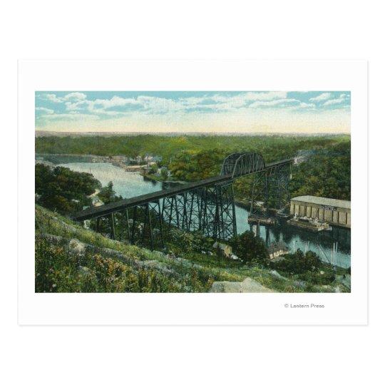 Aerial View of Rondout Creek and Wilbur Bridge Postcard