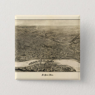 Aerial View of Saint Paul, Minnesota (1906) 2 Inch Square Button