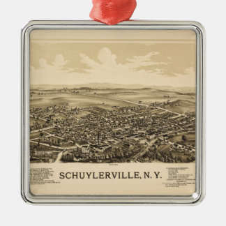 Aerial View of Schuylerville, New York (1889) Silver-Colored Square Ornament