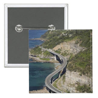 Aerial view of Sea Cliff Bridge near Wollongong, 2 Inch Square Button