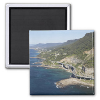 Aerial view of Sea Cliff Bridge near Wollongong, 2 Square Magnet