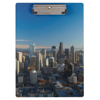 Aerial view of Seattle city skyline Clipboards