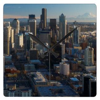 Aerial view of Seattle city skyline Clocks