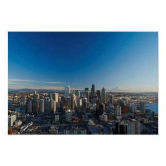Aerial view of Seattle city skyline Poster