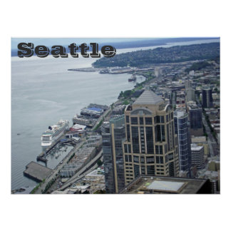 Aerial view of seattle poster