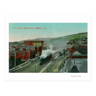 Aerial View of Shattuck Ave SP Train Postcard