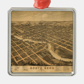 Aerial View of South Bend, Indiana (1874) Metal Ornament