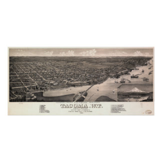 Aerial View of Tacoma, Washington (1884) Poster
