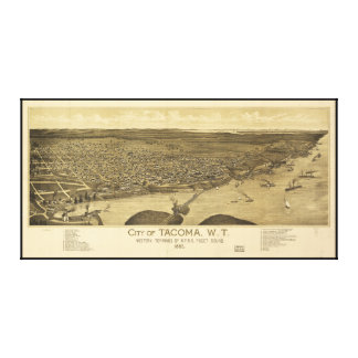 Aerial View of Tacoma, Washinton (1885) Canvas Print