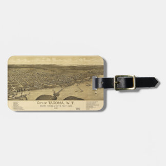 Aerial View of Tacoma, Washinton (1885) Luggage Tag