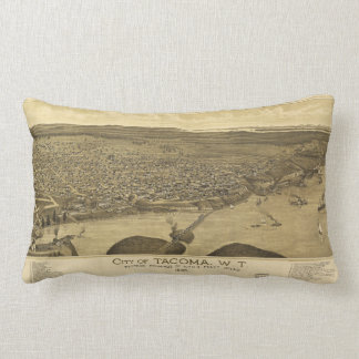 Aerial View of Tacoma, Washinton (1885) Lumbar Pillow
