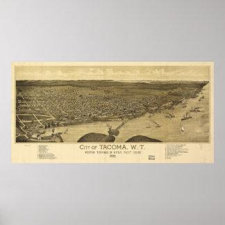 Aerial View of Tacoma, Washinton (1885) Poster