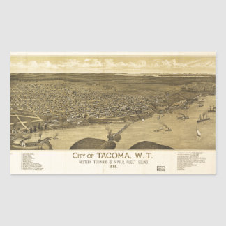 Aerial View of Tacoma, Washinton (1885) Sticker
