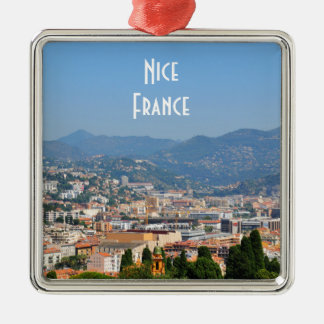 Aerial view of the city of Nice in France Silver-Colored Square Ornament