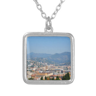 Aerial view of the city of Nice in France Silver Plated Necklace