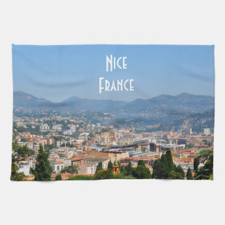 Aerial view of the city of Nice in France Towel