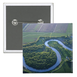 Aerial view of the Red River of the North 2 Inch Square Button