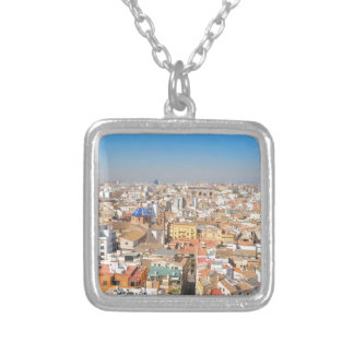 Aerial view of Valencia, Spain Silver Plated Necklace