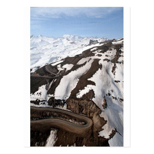 Aerial view of Valle Nevado ski resort Chile Postcard