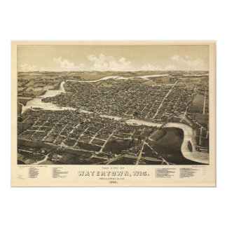 Aerial View of Watertown, Wisconsin (1885) Card