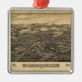 Aerial View of Waterville, New York (1885) Silver-Colored Square Ornament