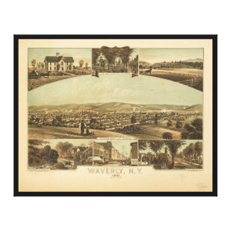 Aerial View of Waverly, New York by J Moray (1881) Canvas Print