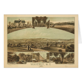 Aerial View of Waverly, New York by J Moray (1881) Card