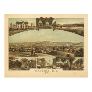 Aerial View of Waverly, New York by J Moray (1881) Postcard