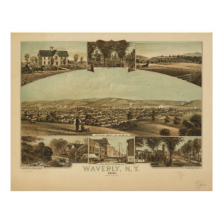 Aerial View of Waverly, New York by J Moray (1881) Poster