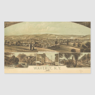 Aerial View of Waverly, New York by J Moray (1881) Sticker