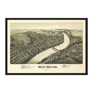 Aerial View of West Newton, Pennsylvania (1900) Canvas Print
