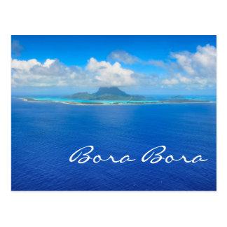 Aerial view over Bora Bora text postcard