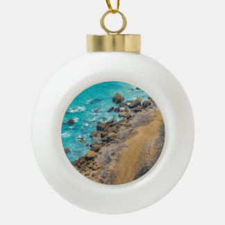 Aerial View Pacific Ocean Coastline Puerto Lopez Ceramic Ball Christmas Ornament