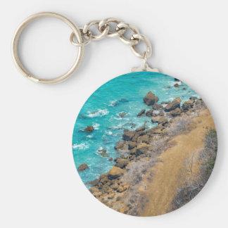 Aerial View Pacific Ocean Coastline Puerto Lopez E Basic Round Button Keychain