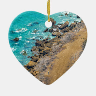 Aerial View Pacific Ocean Coastline Puerto Lopez E Ceramic Heart Ornament