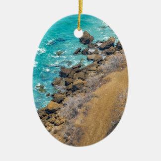 Aerial View Pacific Ocean Coastline Puerto Lopez E Ceramic Oval Ornament