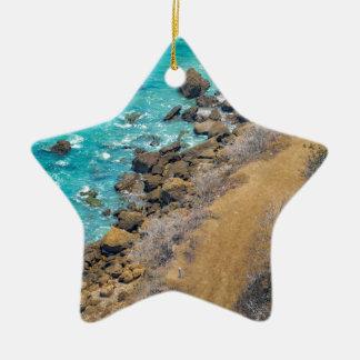 Aerial View Pacific Ocean Coastline Puerto Lopez E Ceramic Star Ornament