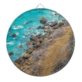 Aerial View Pacific Ocean Coastline Puerto Lopez E Dartboard With Darts