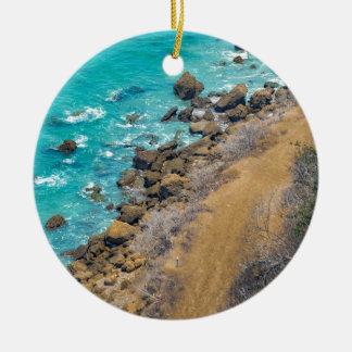 Aerial View Pacific Ocean Coastline Puerto Lopez E Round Ceramic Ornament