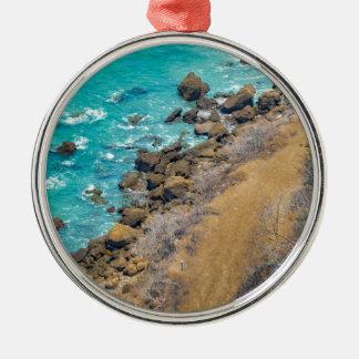 Aerial View Pacific Ocean Coastline Puerto Lopez E Silver-Colored Round Ornament