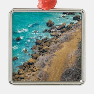 Aerial View Pacific Ocean Coastline Puerto Lopez E Silver-Colored Square Ornament