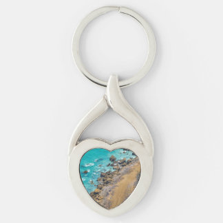 Aerial View Pacific Ocean Coastline Puerto Lopez Silver-Colored Twisted Heart Keychain