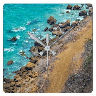 Aerial View Pacific Ocean Coastline Puerto Lopez Square Wall Clock