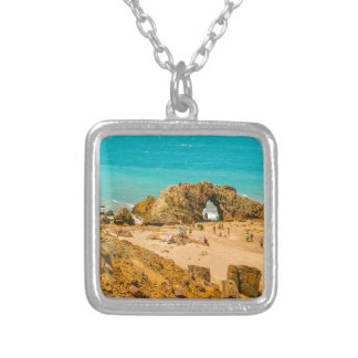Aerial View Pedra Furada Jericoacoara Brazil Silver Plated Necklace