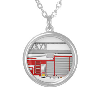 AerialLadderRedRU Silver Plated Necklace