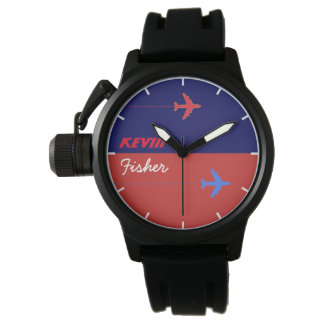aero style stylish men watch with his name